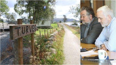 Turvegen ved Engelsvåg har skapt debatt i mange år. Utvalsleiar Arild Børge Skjæveland (nærast) og rådmann Ivar Undheim i Klepp er nøgde med at det no ligg eit forslag til avtale på bordet.