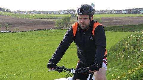 SYKKELTRENING:  Torsdag i sist uke var Cato Heien sammen med flere medlemmer fra Bryne triatlonklubb med på gjennomkjøring av den 20 km lange løypa som inngår i Bryne Tri.