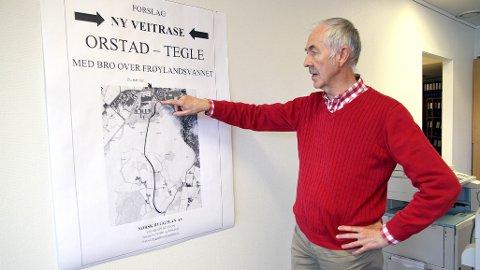 Broa som Ove Charles Vølstad ser for seg, går mellom Orstad til Tegle. Drømmen hans er å engasjere Vebjørn Sand til å utforme den.