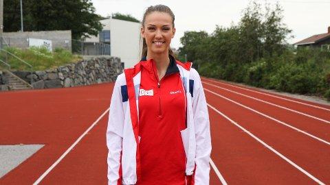 FORNØGD: Sarah Dorthea Jensen sprang sitt livs beste løp i EM i helga. Biletet er teke på Bryne i 2015.