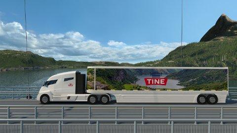 Slik kan den nye langtransport-bilen til Tine komme til å se ut. (Illustrasjon: Tine)