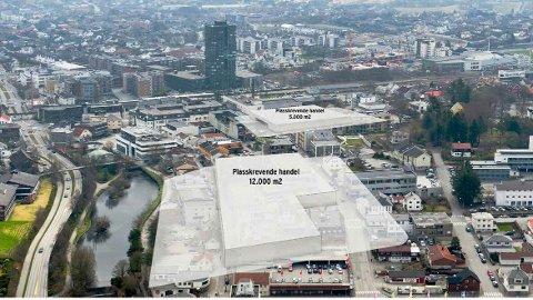 Dei nye areala til butikk, lager, varelevering og kundeparkering i Jæren Handlepark sett inn i Bryne sentrum for å vise arealbehova i ei slik satsing. (Illustrasjon: Jæren Handlepark)