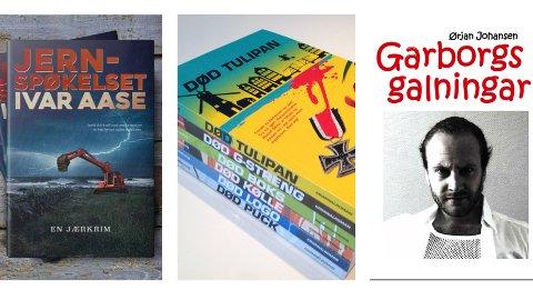 Tre bøker/bokserier som alle kaller seg jærkrim.
