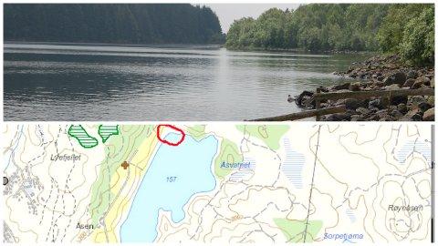 Den nye badeplassen er planlagt innanfor den raude ringen heilt nordvest i Åsvatnet.
