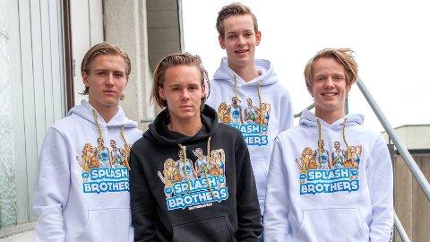 RAUS GJENG:  Thomas Sletten (f.v.), Thomas Skrudland, Marcus Risa Ouff og Kyrre Lemvik er fire av 26 av neste års russ som gir 10 000 kroner til årets innsamlingsaksjon.