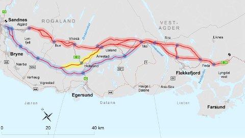 Det er flere alternativer for ny E39-trasé mellom Sandnes og Lyngdal. Ytre korridor er merket med blått, mens midtre er gult og indre korridor er rødt. (Illustrasjon: Statens vegvesen)