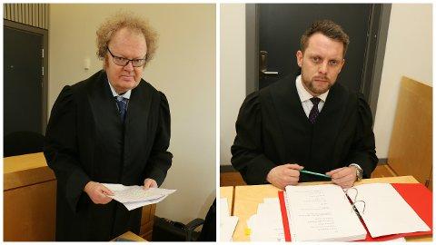 FRIKJENT FOR BEFØLING: - Min klient er veldig skuffa, sjølv om det var befriande å bli frikjent for punktet som galdt beføling, seier Knut O Eldhuset (til venstre), forsvarar for læraren. Både Eldhuset og aktor, Lars Ole Berge, vurderer anke av dommen som blei kjent i går, måndag.