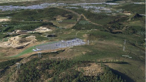 Den planlagde transformatorstasjonen, sett frå søraust mot nordvest. Masseuttaket og asfaltverket til Veidekke/Tullin Ree blir næraste nabo. (Illustrasjon: Statnett)
