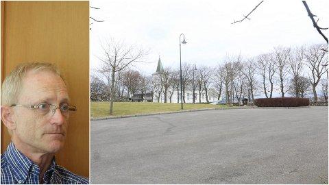 Kommunalsjef Kåre Strand innrømmer at det kjem til å bli press på parkeringsplassen ved ei eventuell ny kyrkje på Kleppe. Kyrkja er planlagt på mykje av det som i dag er parkeringsplass.