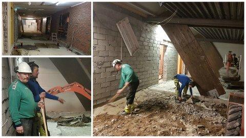 Kjell Tore Skretting (t.v.), Sølve Bratland og Ken Tore Tunheim er i full sving med å fjerne restene av de gamle garderobene i Varhaughallen. Til 17. mai skal splitter nye gardober og toaletter være på plass.