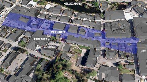 Det lilla området viser kor det vere aktuelt å bygge fjellhall under bakken. Mykje av hallen er teikna inn under Meierigata, men truleg blir det ikkje ein hall heilt frå M44 til jernbanen. (Illustrasjon: Norconsult)