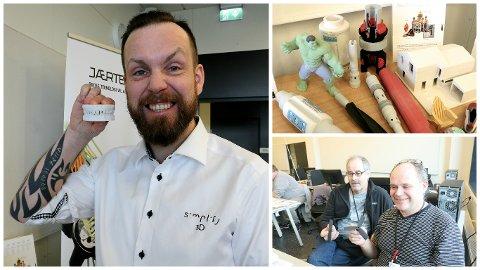Anders Reve fra Simplify har kurset lærerne på Bryne videregående skole i 3D-printing. Lærerne Jan Erik Gundersen og Svein Eirik Træland fikk mye ny kunnskap gjennom kurset.