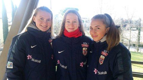 Ine Agnethe Aarskog, Elisabeth Terland og Matilde Alsaker Rogde fotografert i Italia i går.