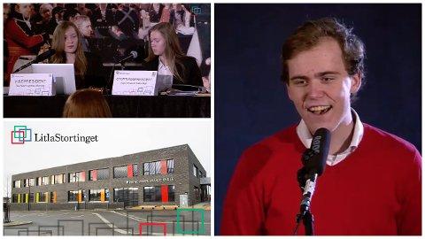 LitlaStortinget 2017 ble avsluttet med at regjeringen til Høyre og Frp ble kastet, etter mistillitsforslag. Her ser vi den nye statsministeren – Øyvind Stålesen Åfløy (Ap). Han avsluttet sin tale med et høylytt «Morna, Susanna!»