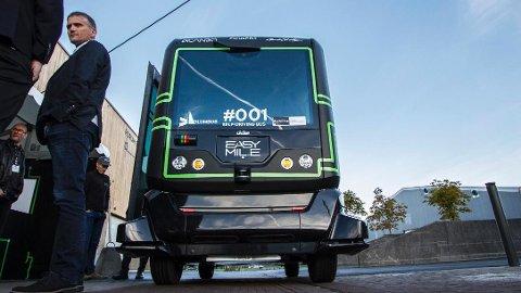 Kolumbus skal teste førarlause el-bussar på Forus, og Time Venstre vil ha slike bussar i trafikk i Time.
