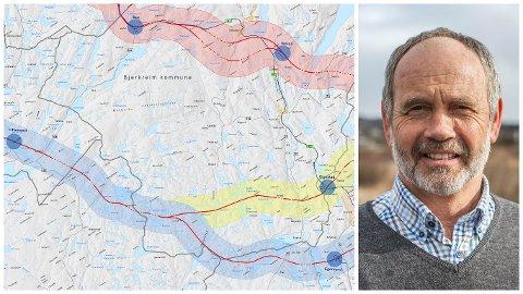 Ordførar Jonas Skrettingland og dei andre politikarane i Hå vil vite meir om dei ulike E39-alternativa. Både ytre korridor (blå) og midtre korridor (blå+gul) er så vidt innom Hå kommune.