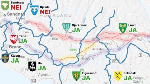 Medan Sandnes og Gjesdal anbefaler å berre konsekvensutgreie den indre E39-traseen, seier resten av kommunane i området ja til å vite meir om det ytre (blå) og det midtre (gule) alternativet.