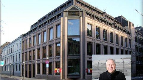 Norges Bank ved Kirkegata i Oslo. Innfelt er administrerende banksjef i Jæren Sparebank. Tor Egil Lie.