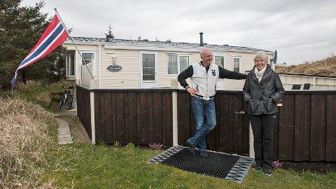 Aud og Harald Rosseland stortrivst i husvogna si på Brusand Camping.
