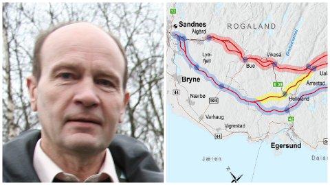 - Sidan det framleis er mange spørsmål som planane ikkje har svar på, ønskjer me ei konsekvensutgreiing av alle tre alternativa for ny E39, heter det i høyringssvaret frå Jordvernforeniingen i Rogaland ved leiar Olaf Gjedrem.
