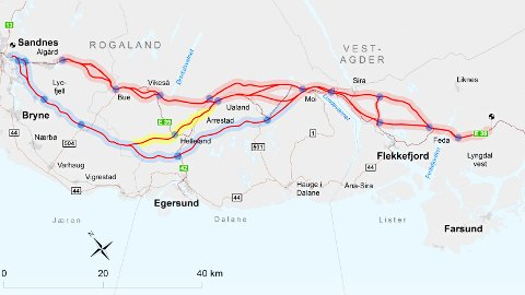 Det er flere alternativer for ny E39-trasé mellom Sandnes og Lyngdal. Ytre korridor er merket med blått, mens midtre er gult og indre korridor er rødt.