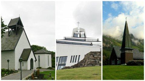 I Ogna kyrkje (t.v.), Nærbø kyrkje og Lyse kapell vil ikkje dei lokale kyrkjelydane innføre den nye liturgien som opnar for at to menn og to kvinner kan gifte seg i kyrkja.