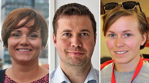 Margret Hagerup (H), Geir Pollestad (Sp) og Solfrid Lerbrekk (SV) ligger an til fast plass på Stortinget.