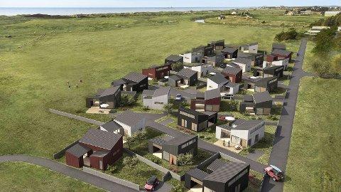 Dei nye hyttene kjem mellom Bore Strandcamping og Borestranda. Bak ser me Figgjoelva.