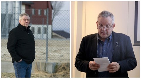 Til venstre: I 2011 var grisebonde Mons Skrettingland skeptisk til biogassanlegget på Grødaland. Til høgre: Varaordførar Mons Skrettingland var til stades under den offisielle opninga av biogassanlegget i april – og roste storsatsinga.