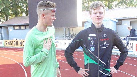 KLUBBKAMERATER: Filip Ingebrigtsen (t.v.) og Narve Gilje Nordås på en av de siste øktene før helgens NM i friidrett på Sandnes stadion.