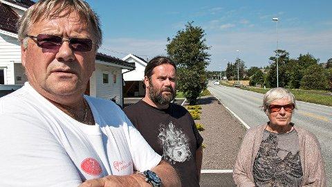 Christian Nielsen (t.v.), Hans Berge Stokkeland og Edith Irene Kristensen meiner fartshumpar eller fotoboksar må til for å få ned farten gjennom Ogna.