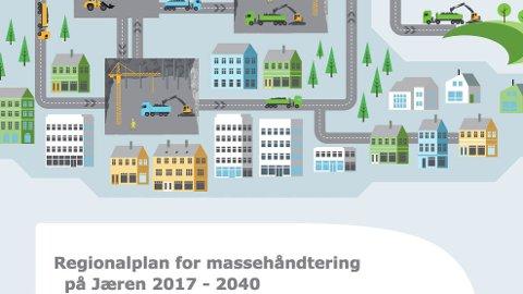Rogaland fylkeskommune har laga forslaget til regionalplan for massehandtering på Jæren 2017-2040, som no er på høyring. (Skjermdump frå forsida av planforslaget)