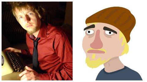 Marius Stene, her i både fotografert og animert utgåve. Teikninga er laga av kollegaen Arild Ørnholt.