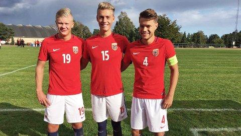Erling Braut Håland (f.v.), Andreas Ueland og Tord Johnsen Salte har vært i Albania. Førstnevnte score fire ganger. Bildet er fra forrige G18-landslagssamling.