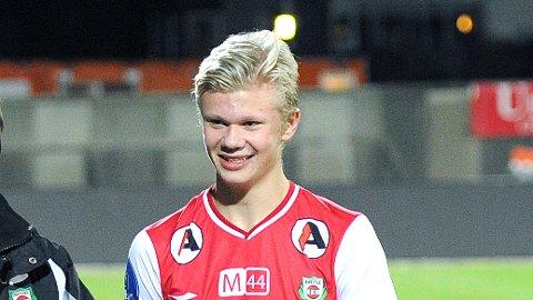 Erling Braut Håland i Bryne-drakt for ett år siden. I 2017 har han fått en god del spilletid for Molde i eliteserien.