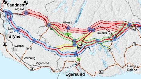 Den grønne linjen fra Moi til Bue viser den nye traseen som Statens vegvesen vil utrede.