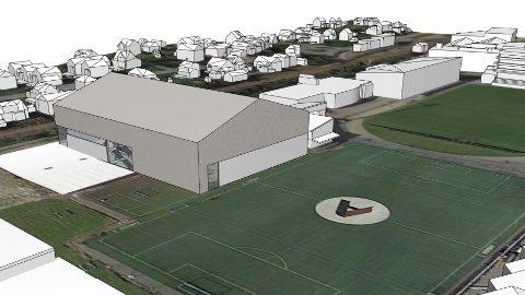 Slik ser Bryne FK for seg den nye storhallen, med fotballhall på toppen. I tillegg er det mellom anna planlagt to fleirbrukshallar og klatrevegg.
