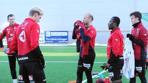 Igor Spiridonov (f.v.), Einar T. Lye, Omar Fonstad El Ghaouti, Paul Addo og Adrian Berntsen er fem av de 11 som starter for Bryne mot Sandnes Ulf lørdag.