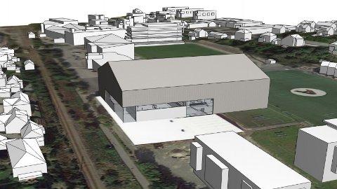 Slik ser Bryne FK for seg den nye hallen, med fotballhall på toppen og mellom anna to fleirbrukshallar under.