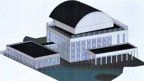 Slik ser Møllehagen Restaurant for seg tilbygget over elva (t.v.) og det overbygde utearealet mot torget.
