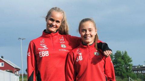 Emma Braut Brunes (t.v.) og Sofie Bjørnsen tar tidlig sommerferie for å delta på J15-landslagssamling i Stavanger.
