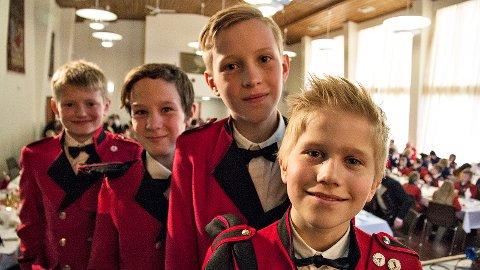 Preben Ueland (t.v.), Tobias Lode, Sondre Wiig og Tobias Telstø trivst godt i Orre Skulekorps.