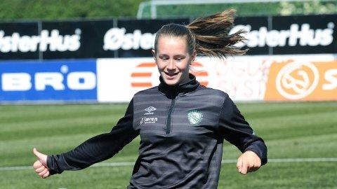 Elisabeth Terland var i godt humør på gårsdagens Klepp-trening.