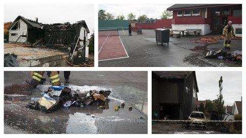 Natt til 23. juli brant det i en bil og en bolig på bryne. I tillegg var det brann eller branntilløp i fire søppeldunkar i området denne natta. 25. juli brann det i et klubbhus, og natt til 3. august ble en enebolig totalskadd i brann.