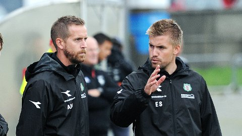Aleksander Midtsian (t.v.) og Even Sel leder Bryne i en hjemmekamp som betyr mye for resten av sesongen.