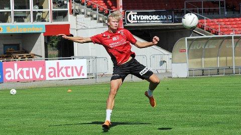 Erling Braut Håland har imponert for både Molde og G19-landslaget. Bildet er fra forrige onsdag, da han deltok på Brynes trening.