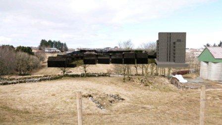 Slik kommer blokka og boligfeltet til å se ut sett fra den nye turstien over Kleppetunnelen.