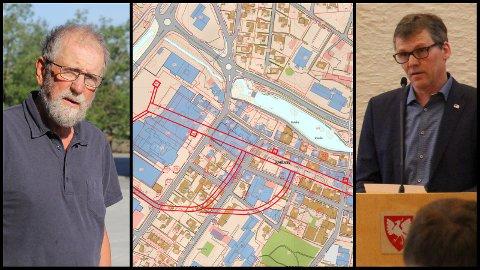 Kjell Olav Stangeland (Ap) mener det ikke er bruk for underjordisk parkeringshall på Bryne. Staale Grude Haaland (H) er ikke enig.