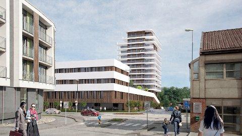 Slik kan det nye signalbygget sjå ut frå Hetlandsgata. Næringsbygg ut mot Arne Garborgs veg, bustadblokk i bakkant mot Sandtangen.