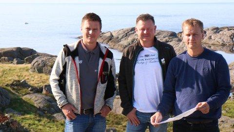 HYTTEPLANAR: Ernst Morten Tuen (t.v), Tor Inge Larsen og Jan Erik Tuen håpar å endeleg få realisert hytteplanane på Tuen, sør i Hå kommune.
